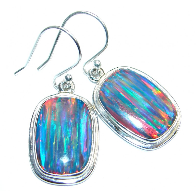 Lab Created Blue Japanese Fire Opal Sterling Silver earrings