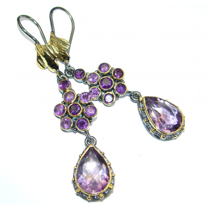 Unique NATURAL Amethyst Gold plated over Sterling Silver earrings