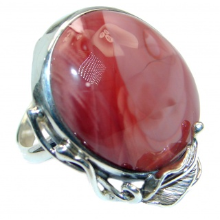 Fine Art Australian Mookaite Sterling Silver handmade Ring size 8 adjustable