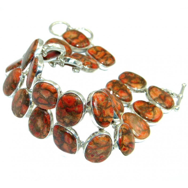 Large Orange Turquoise with copper vains Sterling Silver handmade Bracelet