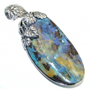 35.8 grams! Beautiful Natural Australian Boulder Opal Oxidized Sterling Silver handmade Pendant