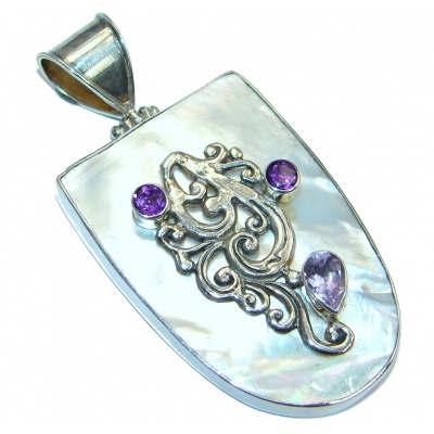 Oriental Design Blister Pearl Sterling Silver handcrafted pendant