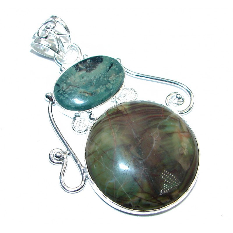 Large Fashion Jasper Silver Tone Pendant