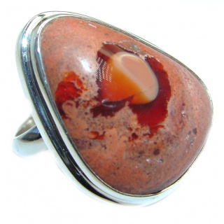 Mexican Fire Opal Oxidized Sterling Silver handmade Ring size 7 adjustable