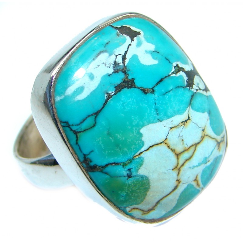Authentic Turquoise Sterling Silver handmade ring size 8