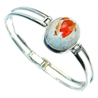One of the kind Orange Mexican Fire Opal Oxidized Sterling Silver Bracelet bangle