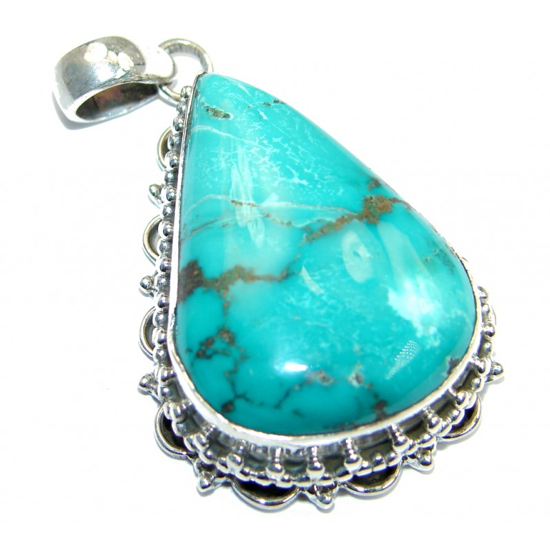 Large Rich Design Genuine Turquoise Sterling Silver handmade Pendant