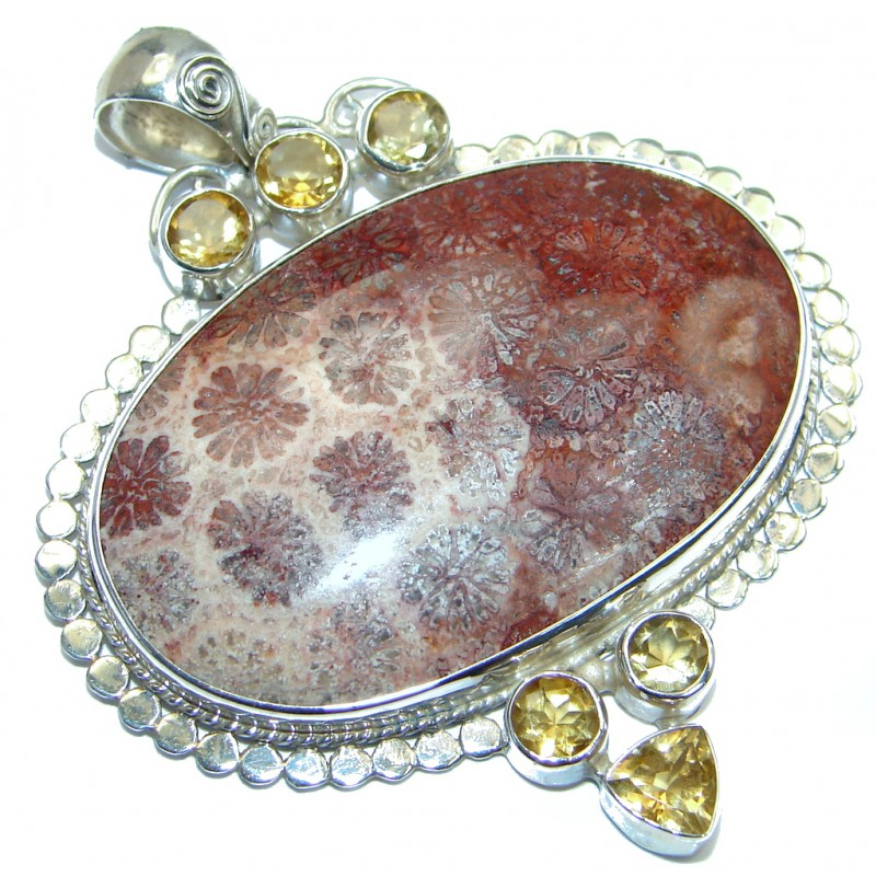 Huge Natural Fossilized Citrine Sterling Silver handcrafted Pendant