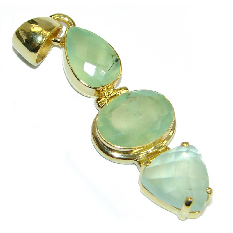 Genuine Moss Prehnite Gold plated over Sterling Silver handmade Pendant