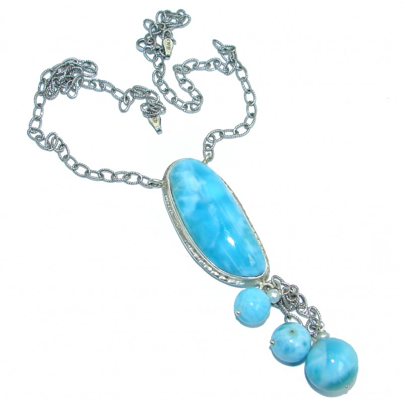 Great Masterpiece Natural Blue Larimar Pearl Oxidized Sterling Silver handmade necklace