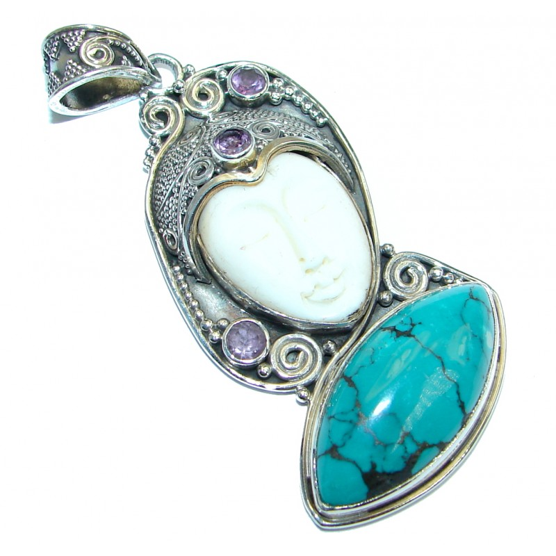 Carved Bone Turquoise Amethyst Sterling Silver handmade Pendant