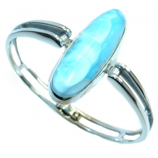 Sublime Genuine Blue Larimar Sterling Silver handmade Bracelet bangle