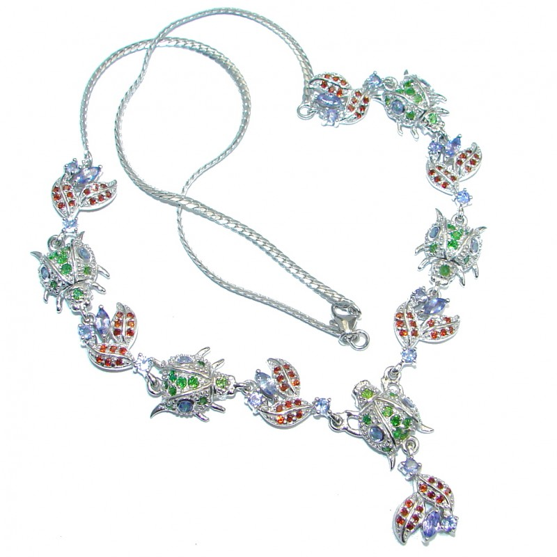 Five Ladybugs Natural Tanzanite Chrome Diopside Mozambique Garnet 925 Silver Necklace
