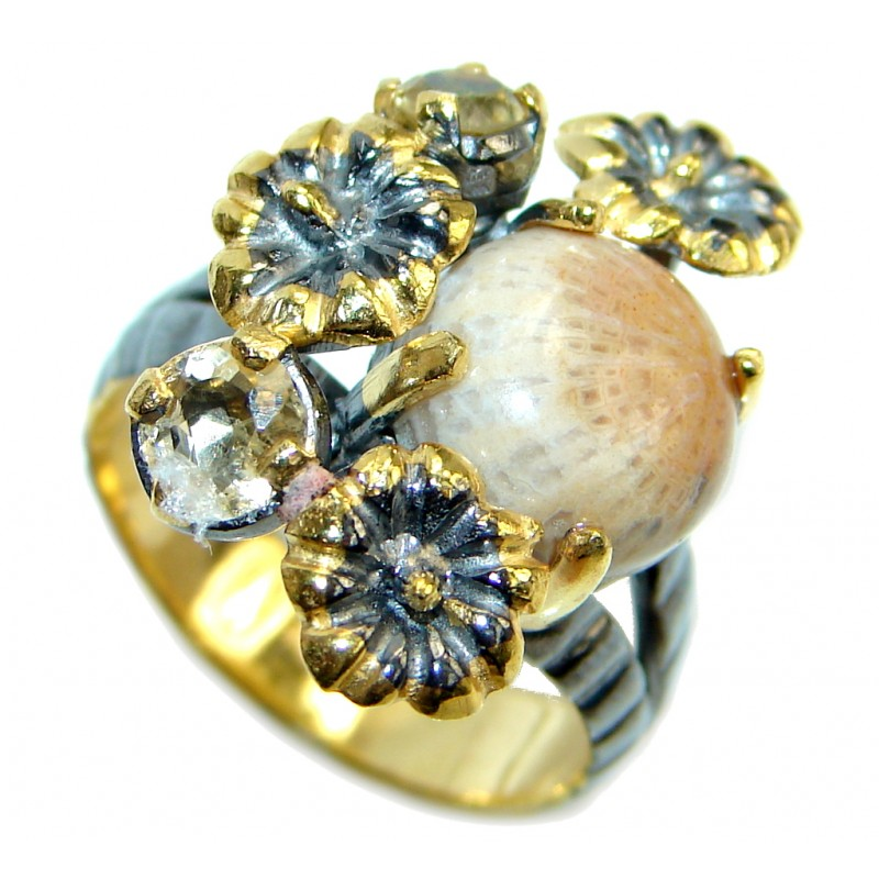 Gorgeous natural Fossilized Coral Gold Rhodium Plated over Sterling Silver ring s. 7