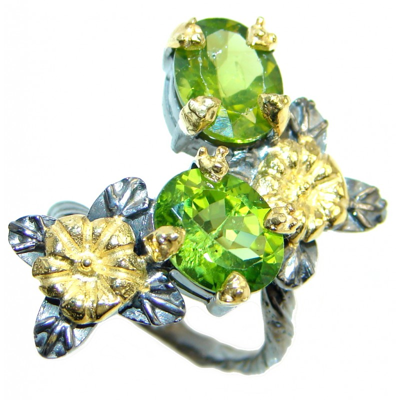 Sublime genuine Peridot Gold plated over Sterling Silver ring; size 6 1/4