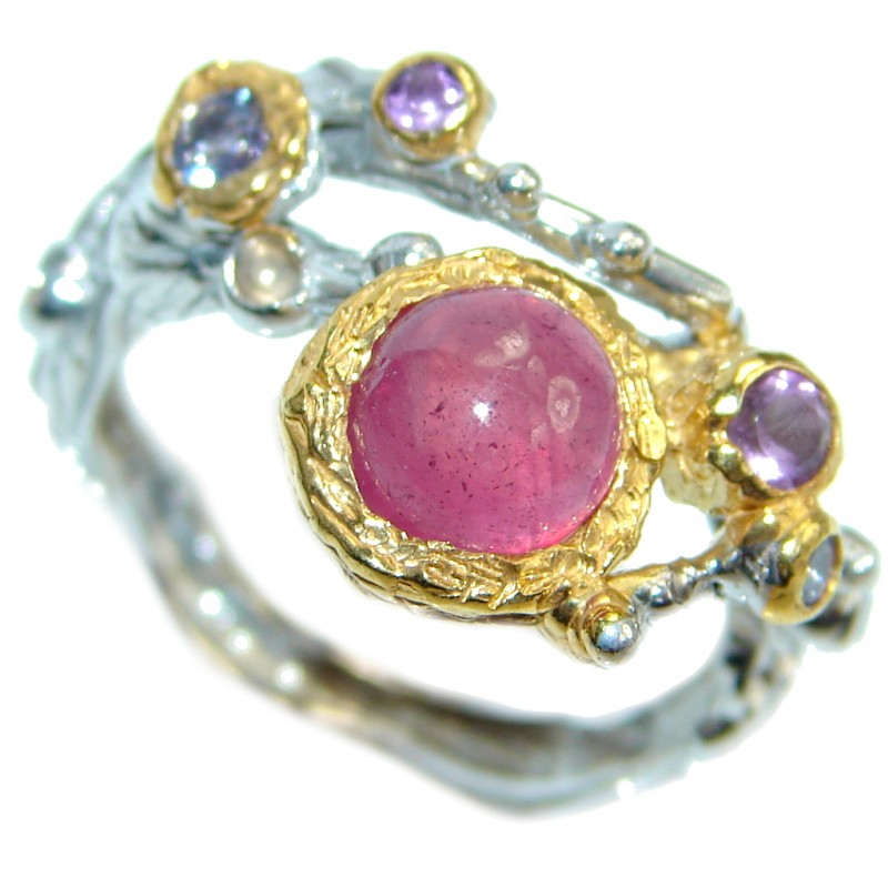Unique design genuine Ruby Gold plated over Sterling Silver ring; s. 7 1/2
