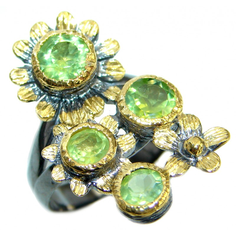 Sublime genuine Peridot Gold plated over Sterling Silver ring; size 8