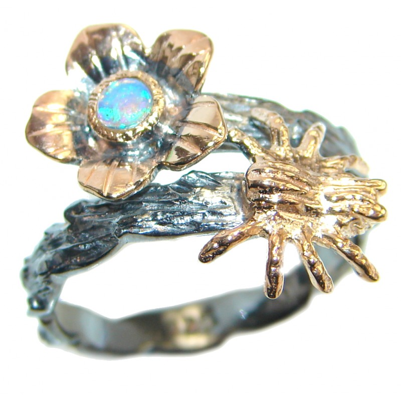Mexican Fire Opal Rose Gold over Oxidized Sterling Silver handmade Ring size 7 3/4