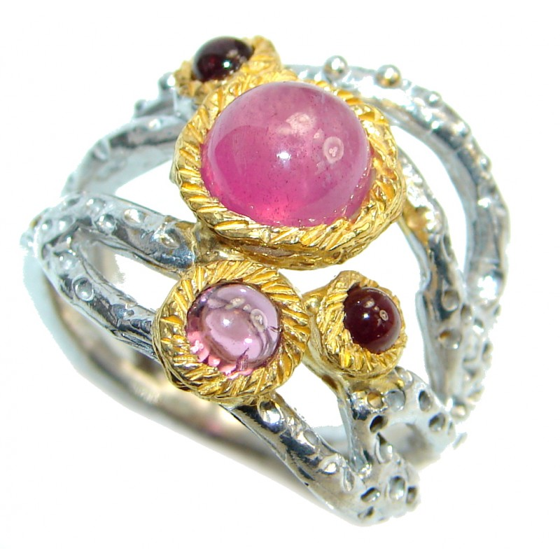 Unique design genuine Ruby Gold plated over Sterling Silver handmade ring; s. 7 1/4