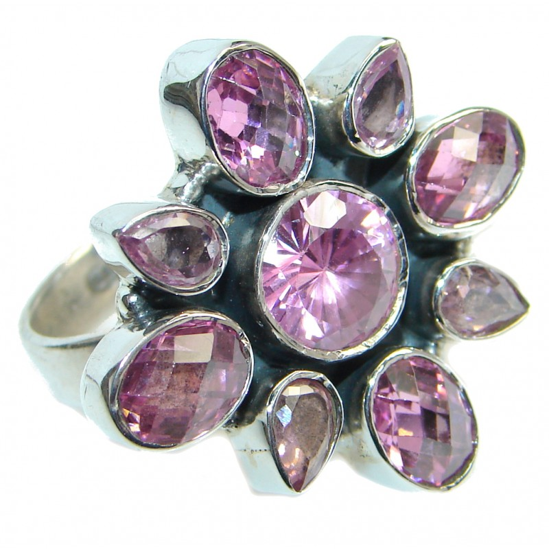 Ultra Fancy Pink Cubic Zirconia Sterling Silver Coctail ring s. 9 1/4