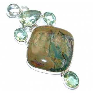 Exquisite Green Rainforest Jasper Sterling Silver handmade Pendant