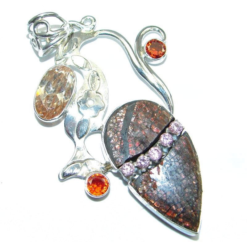 Natural Ammolite Sterling Silver handmade Pendant