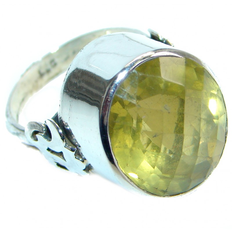 Energazing Yellow Citrine Sterling Silver Cocktail Ring size 9