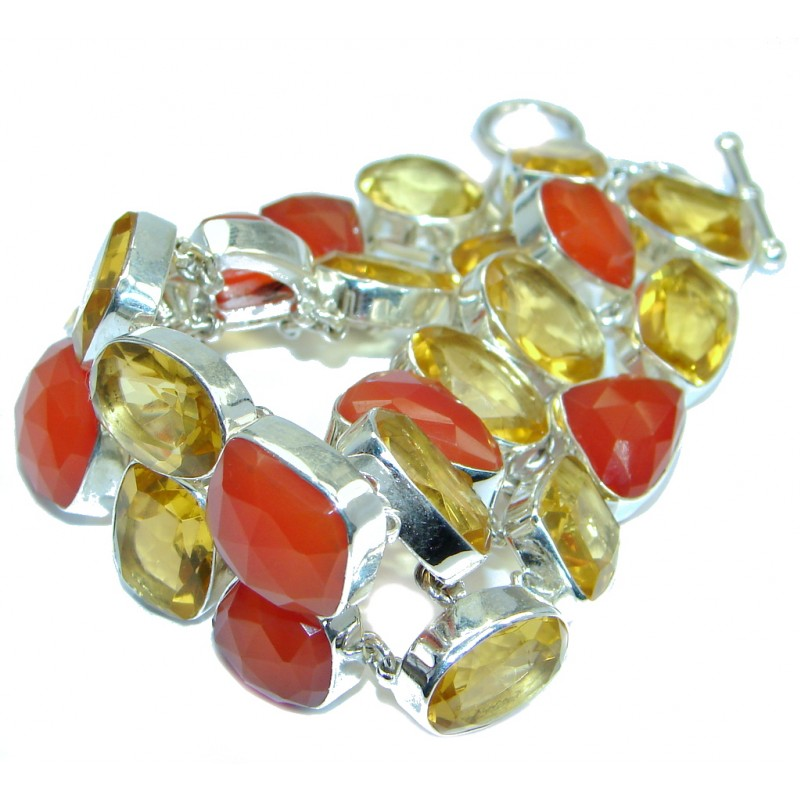 Sunset in Tuscon Authentic Carnelian Quartz Sterling Silver handmade Bracelet