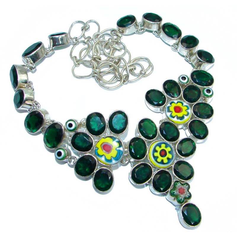 Bohemian Unusal Style Green Quartz Sterling Silver handmade necklace