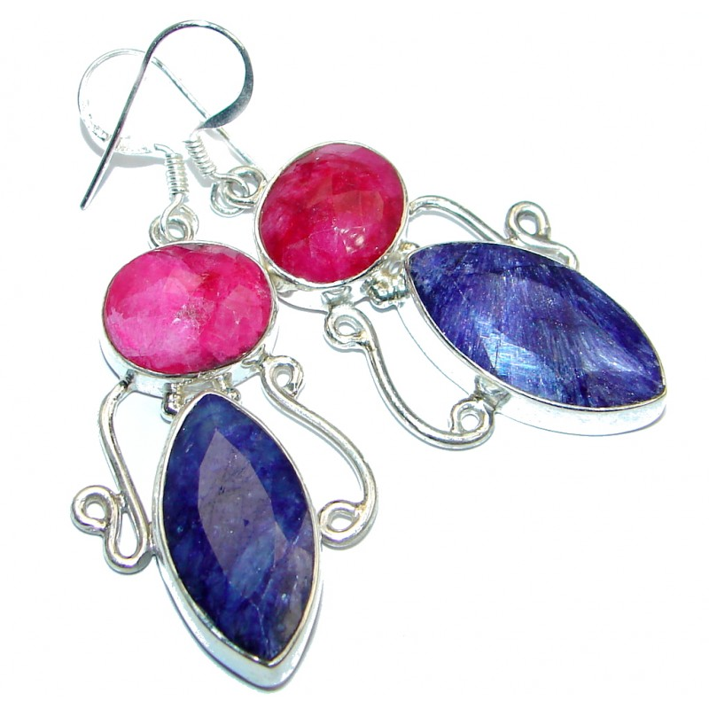 Victorian Style Sapphire & Ruby Sterling Silver earrings