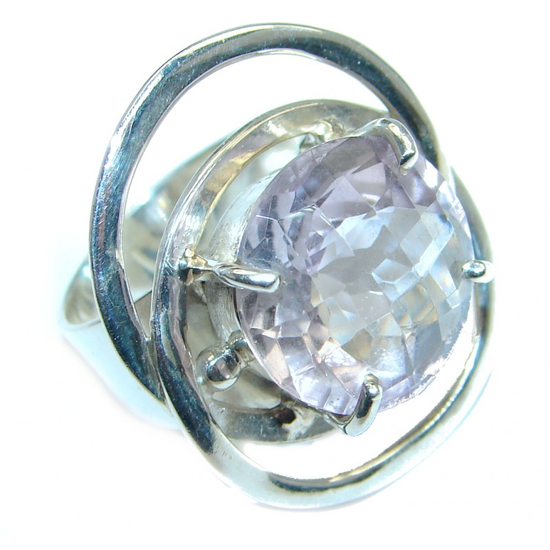 Supernova Pink Amethyst Sterling Silver handmade ring; size 7 1/2