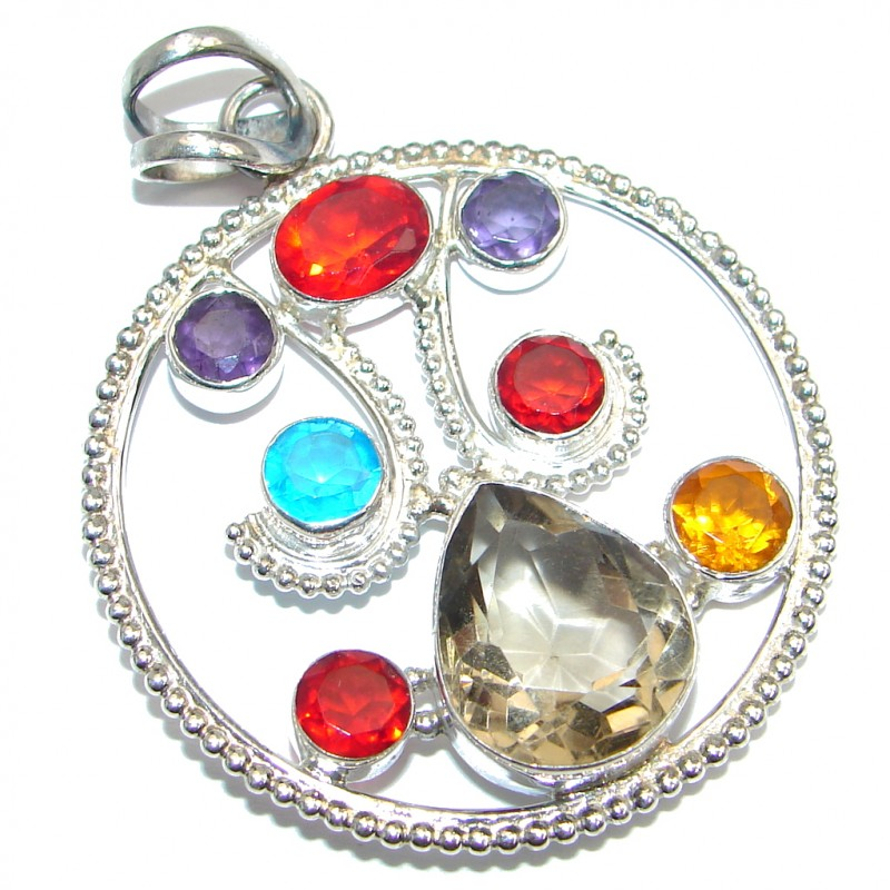 Beautiful Large Rainbow Quartz Sterling Silver handmade Pendant