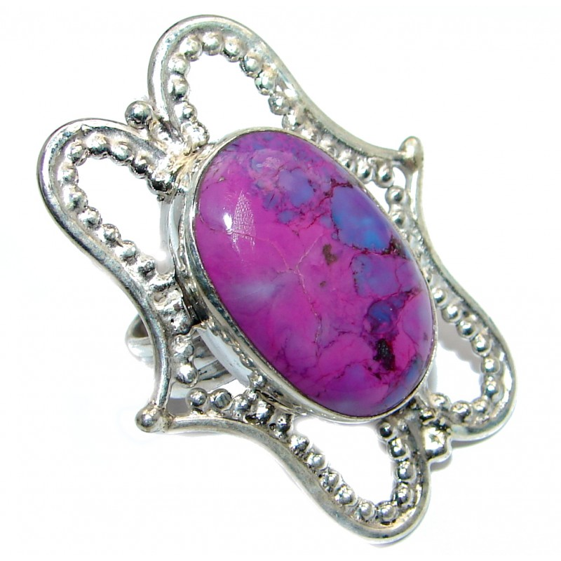 Exotic Purple Turquoise Sterling Silver Ring s. 6 1/2