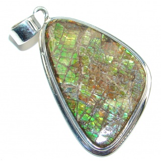 Natural Red Dragon's Skin Fire Ammolite hammered Sterling Silver Pendant