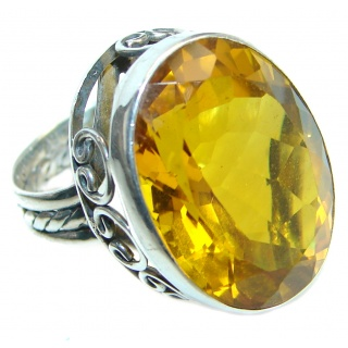 Energazing Yellow Citrine Sterling Silver Cocktail Ring size 5