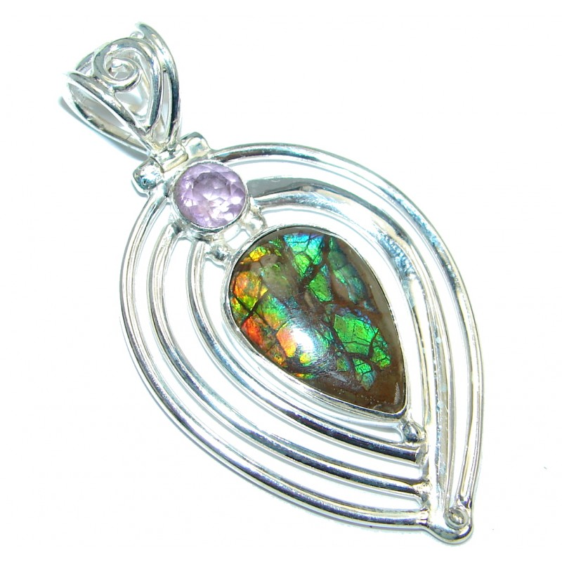 Natural Red Ammolite hammered Sterling Silver handmade Pendant