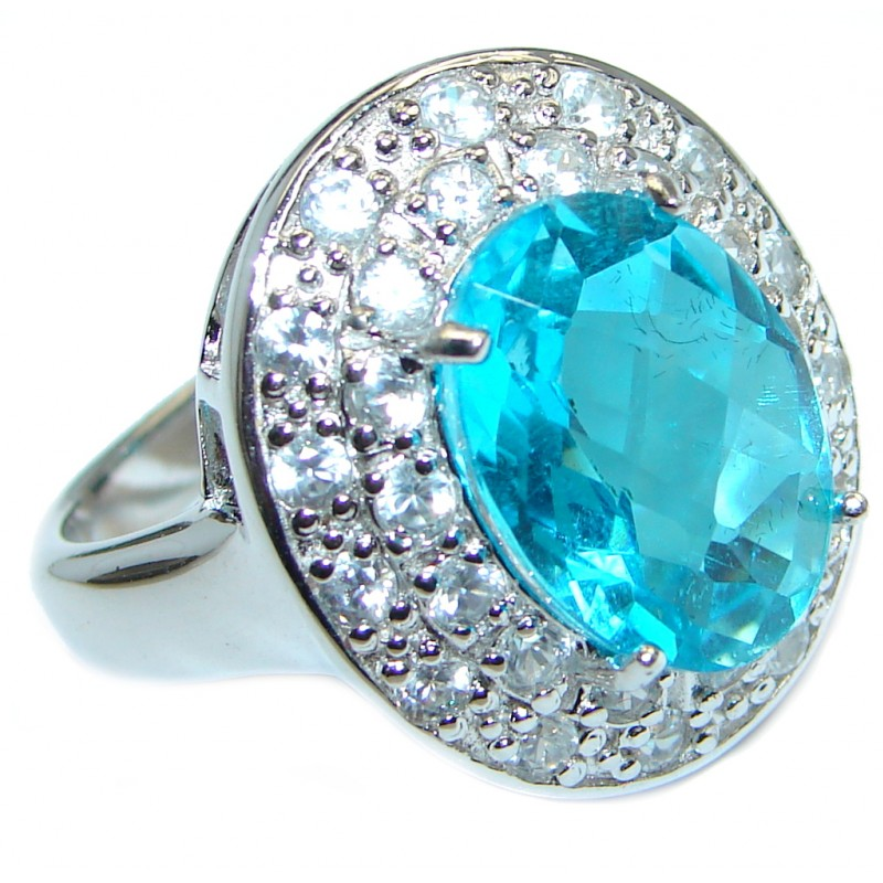 Luxurious Caribbean Sea Blue Topaz Sterling Silver Ring s. 9