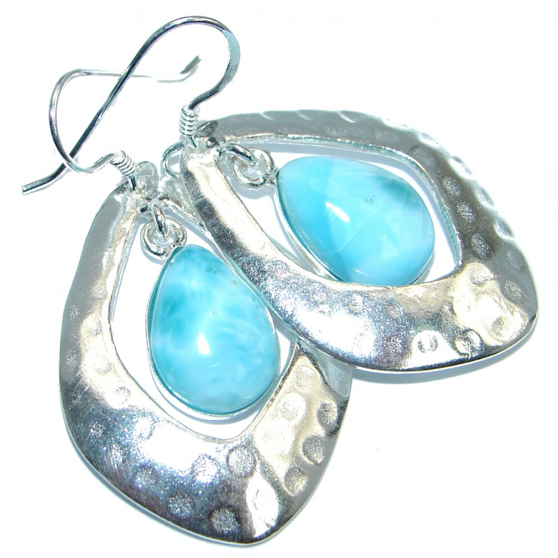 Precious Blue Larimar Sterling Silver handmade earrings