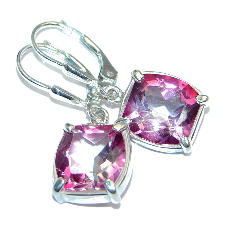 Stunning Pink Topaz Sterling Silver earrings