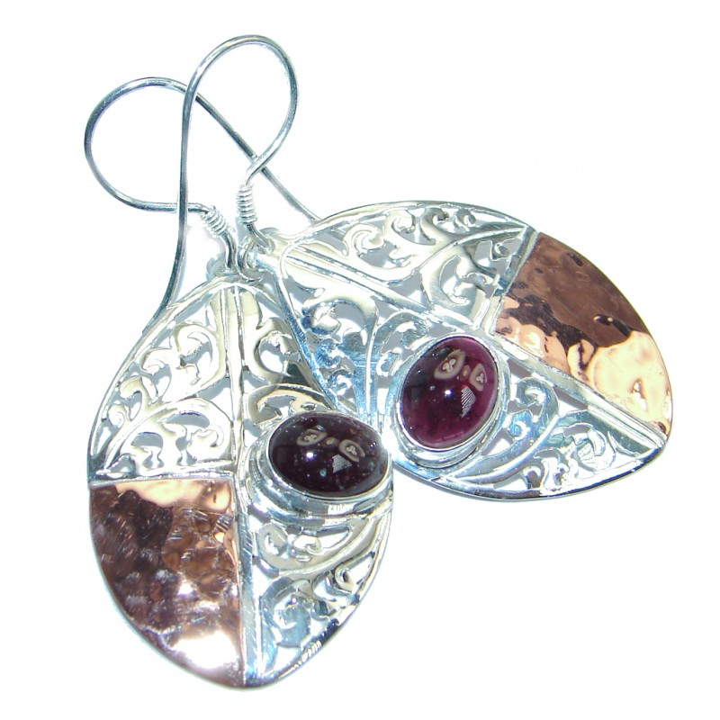 Stunning Mozambique Garnet Two Tones Sterling Silver Earrings
