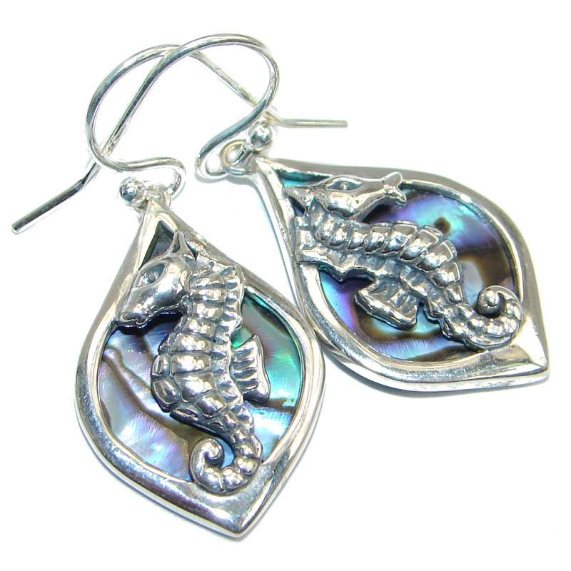 1c9b5302c Seahorse Genuine Rainbow Abalone Sterling Silver handmade earrings ...