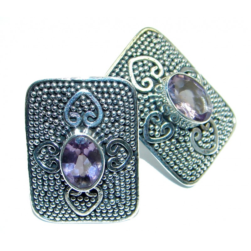 Unique NATURAL Amethyst Sterling Silver stud earrings