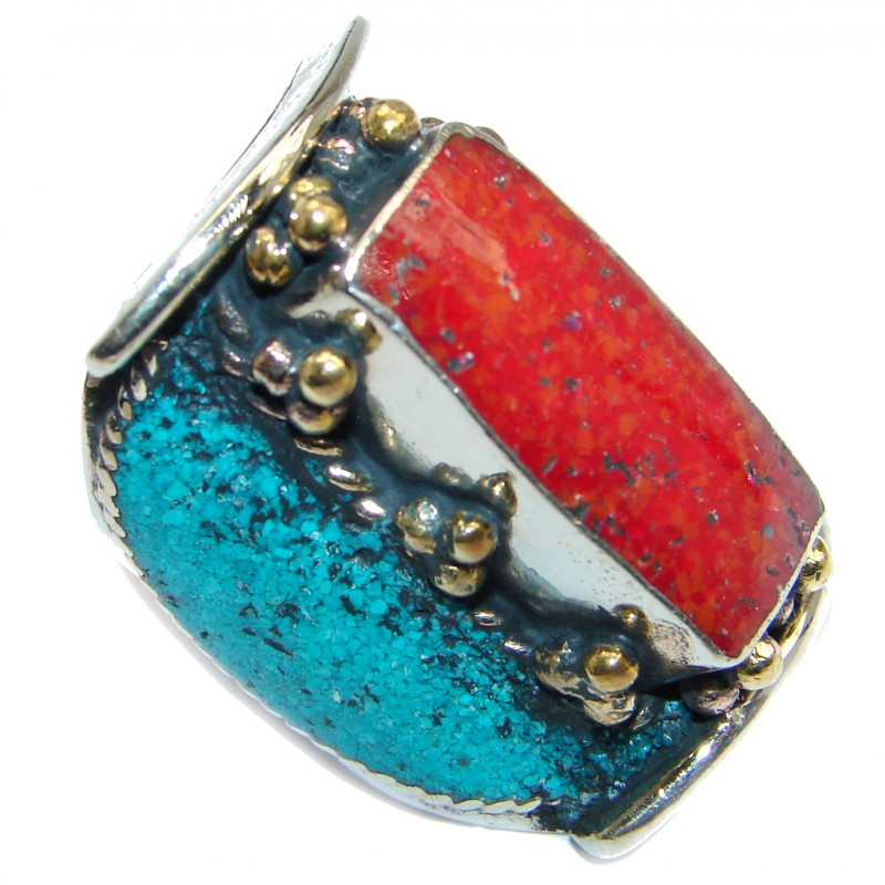 Boho chic Gorgeous Fossilized Coral Tone Silver ring s. 7