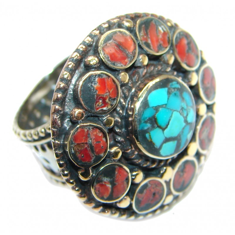 Boho chic Gorgeous Fossilized Coral Turquoise Silver Tone ring s. 9 3/4