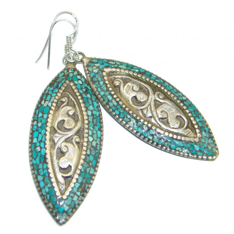 Great Turquoise Silver Tone Handcrafted earrings