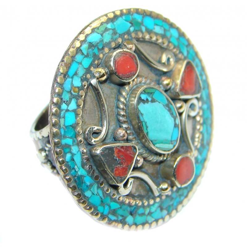 Boho chic Gorgeous Fossilized Coral Tone Silver ring s. 9
