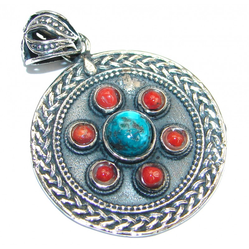 Rich Design Genuine Turquoise Coral Silver Tone handmade Pendant