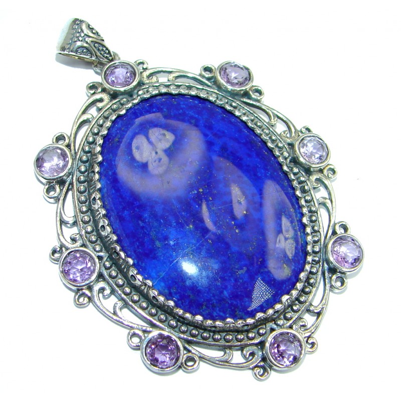 Perfect Combination Blue Lapis Lazuli Amethyst Sterling Silver handmade Pendant