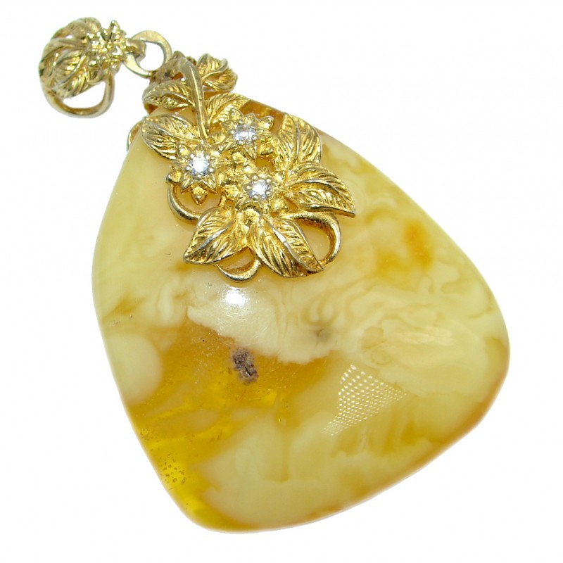 Natural Butterscotch Baltic Amber Sterling Silver handcrafted Pendant