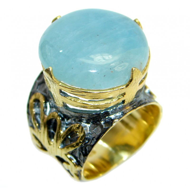 Passiom Fruit Natural 8 ct. Aquamarine Gold Plated over Sterling Silver Ring s. 6
